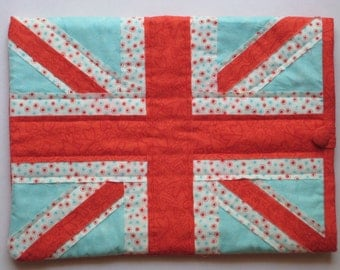 """Royal Union Jack 13"""" Laptop Case Padded Computer Sleeve British Flag Hand Quilted Shabby Chic Aqua Red Polka Dots Tech Gear Fit for a Queen"""