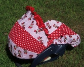 Disney Minnie Mouse baby car seat cover infant seat cover slip cover Graco Red polka dots Disney