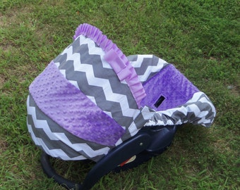 Grey Chevron Stripe lilac purple lavender minky baby car seat cover infant seat cover slip cover Graco fit or evenflo