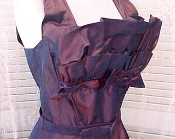 Fabulous 1950's Taffeta Prom Dress in Beautiful Eggplant Purple Color with Bolero Jacket