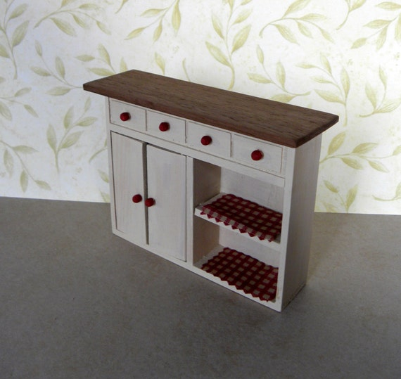 Miniature Dollhouse Kitchen Cabinet Handpainted Ooak Red Gingham REAL