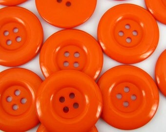 "Extra Large Shiny Orange Sewing Buttons, Size 38mm (1-1/2"") - beautiful pumpkin orange color, 4 hole buttons with gift wrap"