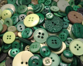 "100 Small Green Buttons - olive green, grass green, spring green, lime green, dark green, sizes 1/8"" up to 5/8"""