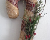 Candy Cane, wall decor, Christmas, primitive, berries, handmade