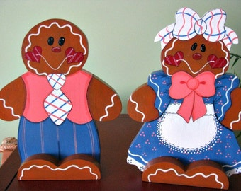 Gingerbread, couple, Christmas, shelf sitter, centerpiece, handpainted,