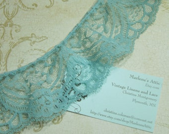 Blue lace, 1 yard of 2 1/2 inch Antique Blue Ruffled Chantilly Lace trim for bridal, wedding, couture, costume by MarlenesAttic - Item NN9
