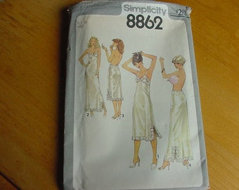 1970s Simplicity Pattern 8862, Misses Full and Half Slips, Size 16, Bust 38, UNCUT, Vintage