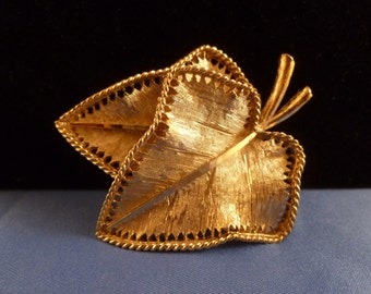 BSK Two Gold Leaf Brooch