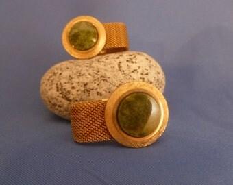 Large Jade Stone Gold Mesh Cuff Links