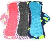 """11"""" OBV or Minky Mama Cloth Menstrual Pads / Cloth Pads / Incontinence Pads - Set of 3 - Medium to Heavy Flow - Customize Your Set"""