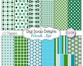 50% Off INDSD Sale Blue and Green Digital Scrapbook Paper Fresh Air: Turquoise, Teal, Aqua, Blue, Green, Instant Download