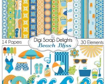 Beach Digital Scrapbook Kit in Summer Orange & Aqua for Digital Scrapbooking, Crafts, Cards, Photographers, Instant Download