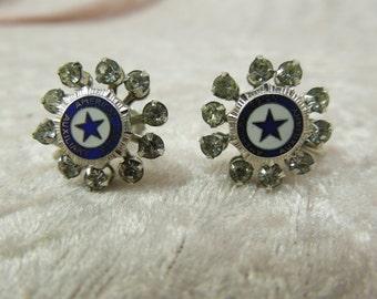 Vintage American Legion Auxiliary Rhinestone Earrings Screwbacks Silver Tone