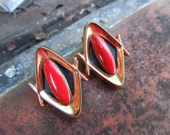 Renoir Matisse Earrings Copper Red Enamel Clip on Modernist Mid Century Modern
