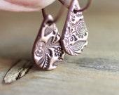 Copper Hoop Earrings with Flower Texture Drops