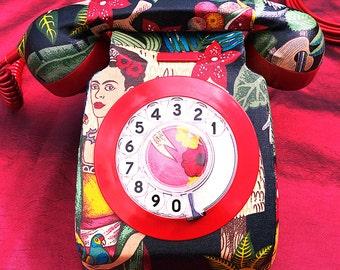 Unique Custom Frida Kahlo Upcycled Decorated Vintage Rotary Phone FULLY WORKING