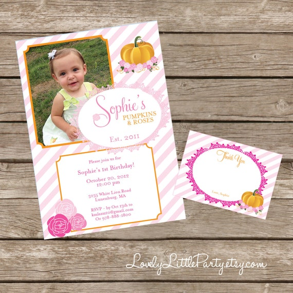 DIY Printable Pumpkins & Roses Invitation Kit - Invite AND Thank You Card included