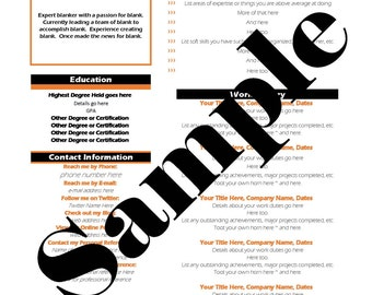 Modern Attention Grabbing Resume with Orange Accents