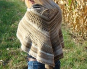 Crochet Triangle Shawl, Cappuccino Wrap, Butterfly Shawl, Autumn Trends Scarf, Neutral Striped Wrap, Fall fashion Shawl, Butterfly Wrap