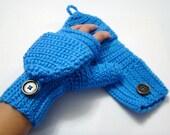 Convertible Fingerless Mittens, Bright Blue Texting Mitten, Crochet Womens Flip Top Mittens, Winter Fashion, Cycling Mittens, Stylish Gloves
