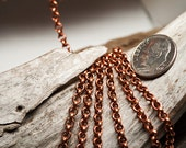 Solid RAW Copper chain 3.3mm approx rolo 3ft length