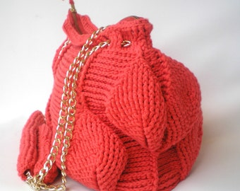 Coral Leaves Crochet Bag, Handmade OOAK crochet Bag, fall fashion, Shoulder Bag, chain inserts women Purse/Bag New
