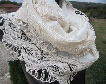 Ivory lace edge Silk wedding shawl scarf - women's scarves - haute couture Turkish mothers day gift - scarves2012 -woman fashion accessory