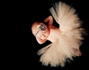 Heavenly Cream Tutu with Matching Rhinestone Satin Headband Newborn Photography Prop