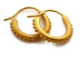 Small  Gold Hoop Earrings, Huggie Hoops, Gold Vermeil Hoops, Huggie Earrings, Granulated Jewelry ,Artisan Handmade  by Sheri Beryl