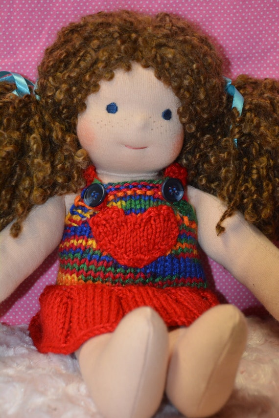 "10"" 12"" Cuddle Doll Bamboletta Waldorf Doll Sweater dress / overalls / skirtall (red heart)"