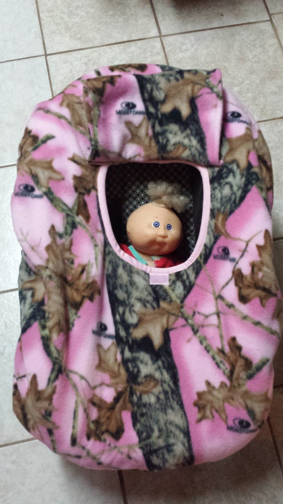 Car Seat Cozy Cover Up In Pink Mossy Oak Realtree Camo Fleece