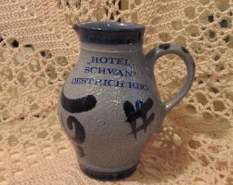 Vintage German Hotel Schwan Cobalt and Gray Stoneware Creamer