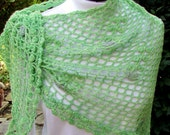 Green floral crescent shawl  crocheted scarf lace wrap handmade
