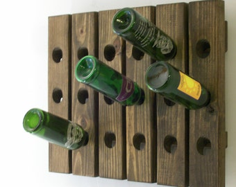 Riddling Wine Rack Wood Antique Style Wall Hanging