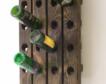 Riddling Wine Rack Distressed Wood Antique Style Wine Winerack