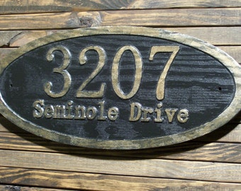 Oval Address Sign Large Antique Brass Finished Wood Custom Carved Plaque