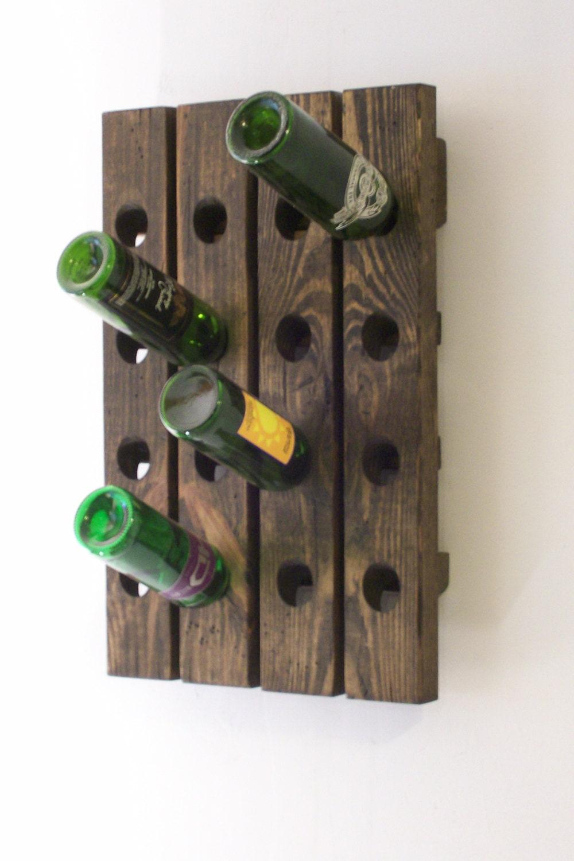 Riddling Wine Rack Distressed Wood Antique Style Wine Winerack