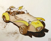 Mice Racing Car Gatsby era couple Illustration children room decor