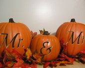 Mr. and Mrs. Fall Wedding Carved Pumpkin Set