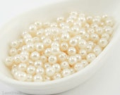 4mm White Cream Pearl Beads (50) Czech Small Glass Thin Pressed Round Druk Opaque Spacers