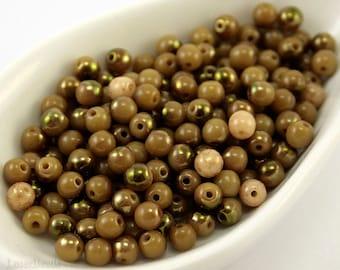 4mm beads. Round opaque olive glass. 100pc bronze brown Czech druk.