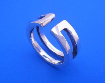 Silver Gap Sculptural Ring , Hand Made Solid Silver