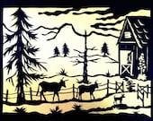 Country Farm Barn Cows Silhouette Papercut Art