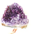 Purple Amethyst Cluster Quartz Crystal Mineral Rock Formation / Retro Home Decor