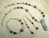 Upper Chakra 3 Piece Set - Necklace Bracelet Earrings - Kyanite Moonstone Amethyst Fluorite Labradorite Reiki Infused Jewelry