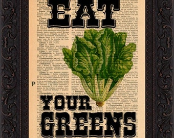 Eat Your Greens on repurposed 1930's Spanish encyclopaedia Page