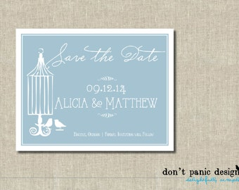 Printable Save the Date Card - Whimsical Bird Save the Date - Blue Wedding Custom Colors
