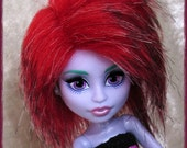 Monster High Fur Wig / Red Shadow style / red/black/white mix / synthetic fur wig / made-to-order