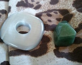 2 Piece Semi Precise Stone Bead Set, Drilled, Aventurine, Cats Eye, Green, Grey