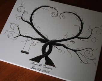 Wedding Thumbprint Tree - With a Swing - Alternative Guest Book (SALE)
